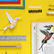 White booted racked tail hummingbird . Um projeto de Instalações, 3D, Design de personagens, Design de interiores, Design de produtos, Design de cenários e Papercraft de Diana Beltran Herrera - 05.12.2018