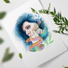Retrato ilustrado en acuarela y lápices de color. A Illustration project by María González - 12.31.2018