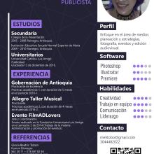 Hoja de vida. A Advertising, and Portfolio Development project by Melissa Botero - 01.26.2019