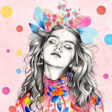 Mi Proyecto del curso: Retrato con lápiz, técnicas de color y Photoshop. Un proyecto de Ilustración, Pintura, Dibujo a lápiz, Dibujo, Ilustración digital, Pintura a la acuarela, Ilustración de retrato, Dibujo de Retrato y Dibujo artístico de Jocelin Flores - 10.04.2019