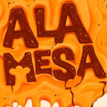 Cartel A la Mesa!. Un proyecto de Ilustración, Publicidad, Dirección de arte, Diseño gráfico, Tipografía, Ilustración vectorial, Diseño de carteles e Ilustración digital de Maikel Martínez Pupo - 13.04.2019