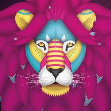 León Alebrije | Mi Proyecto del curso: Ilustración para no ilustradores . Um projeto de Design, Design de personagens, Design gráfico, Ilustração vetorial e Ilustração digital de David Miguélez López - 30.04.2019