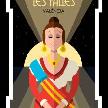 Cartel Las Fallas - Estilo Art Deco. Un proyecto de Diseño de personajes, Bellas Artes, Dibujo y Diseño de carteles de Miguel Camacho Gordaliza - 02.05.2019