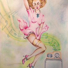 Mi Proyecto del curso: Cómo conquistar a una Pin Up. A Fine Art, Painting, Watercolor Painting, and Artistic drawing project by Lelia Fabiana Perez - 05.13.2019
