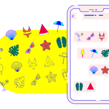 Summer icons __ Pack de stickers para WhatsApp. A Design, Kunstleitung, Grafikdesign, Icon-Design und Digitale Illustration project by María Marqueses - 17.05.2019