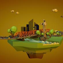 This is my city in  low poly - Cinema 4D . Un proyecto de 3D, Animación, Animación 3D y Modelado 3D de Emiliano Ortiz - 25.05.2019