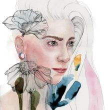 Sonia. Mi Proyecto del curso. Retrato ilustrado en acuarela. A Portrait illustration project by Carla Rodera - 05.30.2019