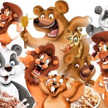 Creación de personajes para packaging de cereales Consum KIDS. Un proyecto de Packaging, Animación de personajes e Ilustración infantil de Juanma García Escobar - 22.04.2019