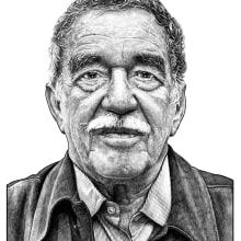 Gabriel García Márquez. Un proyecto de Bellas Artes, Dibujo a lápiz, Ilustración digital, Ilustración de retrato, Dibujo de Retrato y Dibujo realista de Pako Martinez - 09.07.2019