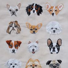 I love my dog embroidery . Um projeto de Bordado e Ilustração têxtil de Valentina Castillo - 17.12.2018