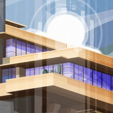 Tributo a Frank Lloyd Wright. FallingWater House.. Um projeto de Ilustração, Publicidade, Direção de arte, Ilustração vetorial e Arquitetura digital de Sergio Picazo Ferro - 17.07.2019