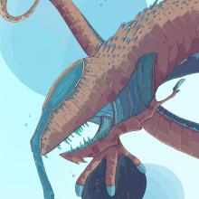 Peligros de las profundidades.... Un proyecto de Dibujo, Dibujo artístico e Ilustración digital de Alex Shagu - 27.08.2019
