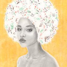 Afro Spring. A Illustration, Bildende Künste, Fotoretuschierung, Skizzenentwurf, Kreativität, Porträtillustration und Porträtzeichnung project by Andrea Bäbler - 13.09.2019