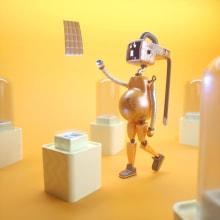 Mi Proyecto del curso: Un robot gordito. Um projeto de 3D, Modelagem 3D e Design de personagens 3D de Hans Cuxil - 16.09.2019