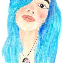 La chica azul. Un proyecto de Ilustración e Ilustración de retrato de Daniela Rodarte Corrales - 10.09.2019
