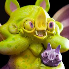 Midnight Moon Bat  / babyBat . Un proyecto de Diseño de juguetes, Escultura e Ilustración infantil de Mitote Rodela - 15.10.2019