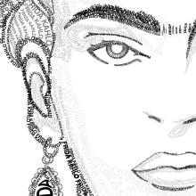Composición tipográfica - Frida Kahlo. Un proyecto de Bellas Artes, Creatividad, Ilustración digital, Ilustración de retrato y Dibujo de Retrato de Rosa Elemil Martinez - 24.09.2018