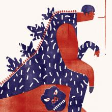 Godzilla en Gibraltar. Un proyecto de Ilustración, Diseño de personajes, Diseño editorial e Ilustración digital de Jimi Macías - 17.07.2015