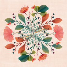 MANDALA JARDÍN INGLÉS. A Illustration, and Textile illustration project by Ana Beatriz Reina Rojas - 10.24.2018
