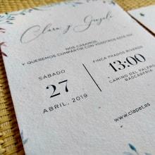 Invitaciones de boda. Clara y Gonzalo. A Graphic Design project by Laura Alonso Araguas - 04.27.2019