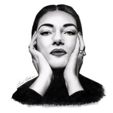 Retrato realista con lápiz de grafito: María Callas. Un proyecto de Ilustración de retrato y Dibujo de Retrato de Javi Cohen - 09.11.2019