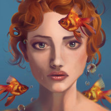 Delirio Under the Sea. A Painting, Digital illustration, and Portrait illustration project by Gabriela Carrera Montañez - 11.28.2019
