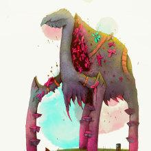 Criatura Floet 3: Floetwalker. Un proyecto de Ilustración, Dibujo, Ilustración digital y Dibujo artístico de Alex Shagu - 05.12.2019