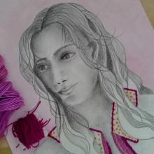 Ilustración bordada. Un proyecto de Bellas Artes, Ilustración de retrato y Bordado de Laura Bello - 29.12.2019