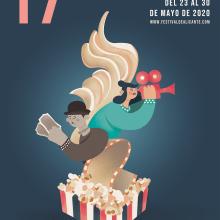 Diseño de Cartel para el Festival Internacional de Cine de Alicante. Un proyecto de Bellas Artes, Creatividad, Diseño de carteles, Ilustración digital y Diseño digital de Sofía Gregorio - 14.01.2020