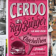 Cerdo Rey Burger - Proyecto final curso Lettering e Ilustración . A Illustration, Kalligrafie, Lettering, Kreativität, Digitales Lettering und Kalligrafie mit Brush Pen project by Andrés Henao - 17.01.2020