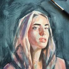 Mi Proyecto del curso: Retrato artístico en acuarela. Um projeto de Pintura em aquarela de Marisol Ormanns - 20.01.2020