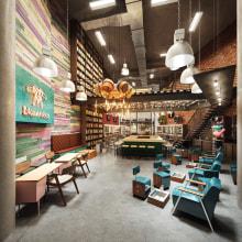 The Spot Barbershop & Blos Roses. Um projeto de 3D, Design de interiores, Arquitetura digital, 3D Design e Visualização arquitetônica de Gustavo Correa - 04.04.2018