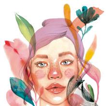 Meu projeto do curso: Retrato ilustrado em aquarela. Un proyecto de Dibujo de Retrato de Natalie Ferreira - 26.02.2020