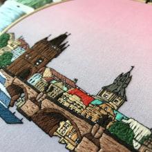 Prague number 2. Hand embroidery. Un progetto di Ricamo di Kseniia Guseva - 28.02.2020