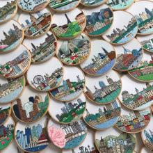 Series of city hand embroideries. Un progetto di Ricamo di Kseniia Guseva - 28.02.2020