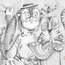 La visita de la banda/Microrelato silente. A Illustration, Editorial Design, and Children's Illustration project by Paula Bossio - 06.01.2017