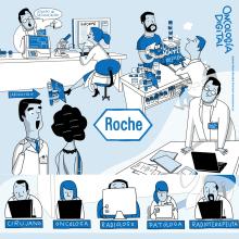 """ROCHE. Detalle de vídeo comercial de difusión interna """"Oncología digital"""".  +INFO www.juanma.es. Un proyecto de Ilustración, Diseño de personajes, Animación de personajes y Animación 2D de Juanma García Escobar - 05.03.2020"""