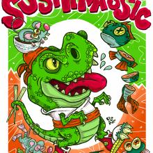 SUSHIRASSIC. A Design, Illustration, Art Direction, and Digital illustration project by Camilo Ducuara Gordillo - 03.17.2020