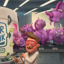 Air Funk Odor Remover. A Illustration, Advertising, and Character Design project by Sergio Edwards - 03.17.2020