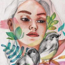 Primavera en cuarentena 2020. Un proyecto de Ilustración digital, Pintura a la acuarela, Ilustración de retrato y Dibujo de Retrato de Aranzazú Reverte - 24.03.2020