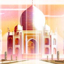 Illustración del monumento funerario Taj Mahal. A Architektonische Illustration project by Sergio Picazo Ferro - 02.04.2020