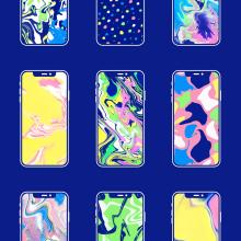 Wallpaper set . Um projeto de Design gráfico e Ilustração de Clara Briones Vedia - 09.04.2020