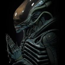 Alien Xenomorph rezando. A 3-D, Skulptur, Kino und 3-D-Modellierung project by Juan Novelletto - 13.04.2020