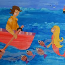 Mi Proyecto del curso: Ilustración de historias con papelLa Pincoya, leyenda chilena de la Isla de Chiloé. Un proyecto de Collage e Ilustración infantil de Carola Esquivel - 14.04.2020