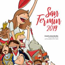 San Fermín 2019. Cartel semifinalista. Un proyecto de Ilustración, Diseño de carteles e Ilustración digital de Javier Sánchez Nagore - 07.07.2019