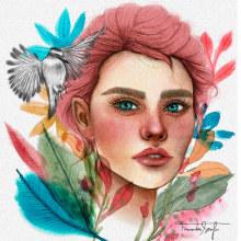 Meu projeto do curso: Retrato ilustrado em aquarela. Un projet de Illustration de Fernanda Serafim - 24.04.2020