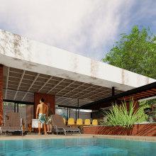 axonométrico y perspectiva quincho Barrenechea . A Architecture project by Daniel Chain - 04.25.2020