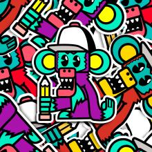 STICKERS. Um projeto de Ilustração, Br, ing e Identidade, Design gráfico, Ilustração digital e Design digital de Marc Calvo - 26.04.2020