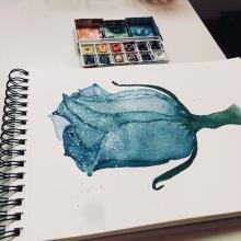 Blue rose. Un projet de Aquarelle de Áquila Faré - 28.04.2020