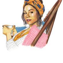Quedate en casa Proyecto. Un projet de Design , Character Design, St, lisme, Illustration de portrait , et Dessin de portrait de Karina - 30.04.2020